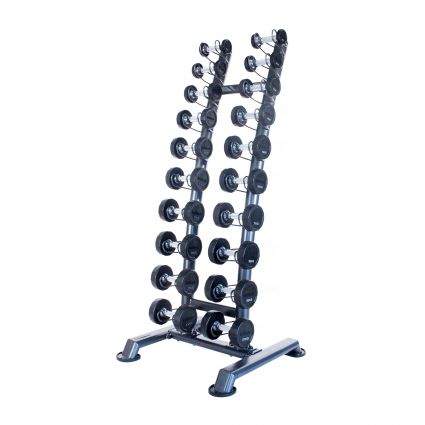 Rubber Dumbbell Sets with Upright Racks